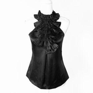 Romeo Juliet black ruffle sleeveless top